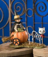 Bethany Lowe Skelly's Pumpkin Carriage Ride Witch Skeleton Cat Halloween Figure