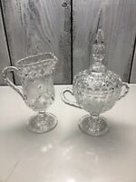 Unmarked Nice Crystal Sugar Bowl W Lid & Creamer Carved Stars Cut Etched Lines