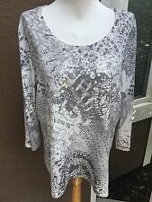 New Chico's Zenergy Debbie Gray Sequin Embellished Top Shirt Sz 3 = XL 16 18 NWT
