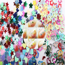 Lots 5000Pcs Glitter Heart Star Flower Sequins Stickers Decals Nail Beauty Art #