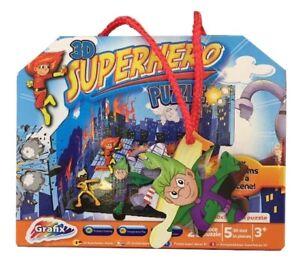 Grafix 3D Superhero Puzzle - Box Transforms into a 3D Scene - 25 PCS - 3+