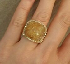 Wide Band Dome Rutilated Quartz & Diamond Ring in 18K Yellow Gold - HM1602