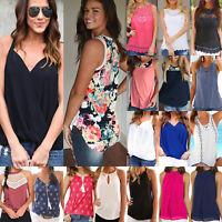 Women Summer Casual Vest Sleeveless Shirts Tank Tops Beach Floral Blouse T-Shirt