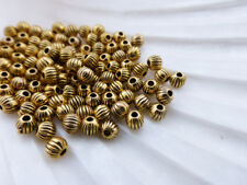 100 x 4mm Round Fluted Pumpkin Spacer Beads Antique Gold Colour LF       (MBX81)