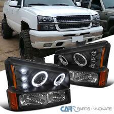 For 03-07 Silverado Avalanche Black Halo Projector Headlights w/ Bumper Lamps