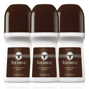 Avon Wild Country Roll-On Anti-Perspirant Deodorant Bonus Size 2.6 oz 3-Pack
