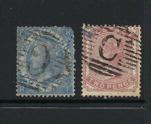 Low Start GB QV 2d & 2/- used in British Levant (Constantinople 'C'), SG Cat£180
