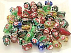 Beautiful 50pcs millefiori glass beads 6-10mm