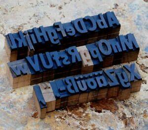 "A-Z alphabet 0.87"" letterpress wooden printing blocks wood type Art Nouveau rare"