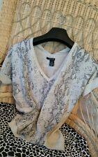 DKNY*Designer Sweater/Top Metalic Snakeskin Oversized fit/Sz S V-Neck Blouse