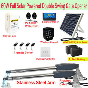 Full Solar Powered Double Swing Farm Gate Opener Automatic Motor 60W