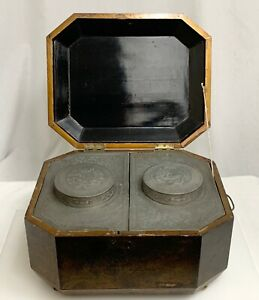 Antique Large Chinese Export Pewter Lacquerware Tea Caddy Box - 80211