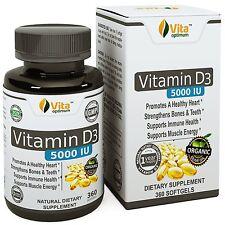 Vita Optimum Vitamin D3 5000 IU - In Certified Organic Olive Oil 360 minigels &