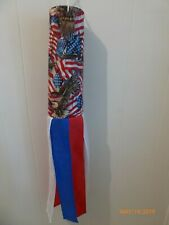 Windsock - Handmade - Bald Eagle -American Flag -  Red - White - Blue Tails