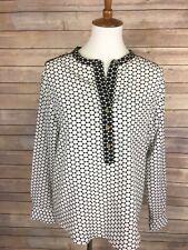 Adrienne Vittadini Large Blouse Black White Colorblock Long Sleeve Popover Top