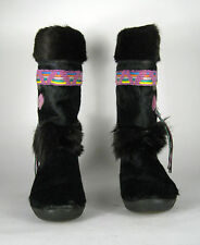 Tecnica Fur Boots Size 39 EU 7.5 ? US Black Italy Suede Women Winter Embroidery
