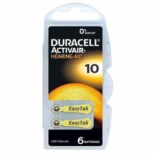Duracell Activair Mercury Free Hearing Aid Batteries size 10 YELLOW 60 batteries