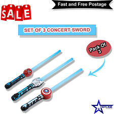 Plastic Extendable LED Flashing Glow Sword Stick Kids Toy Concert Prop Pack of 3