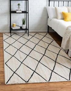 6x9 feet square hand woven jute area rug white color with black dimond jute rug