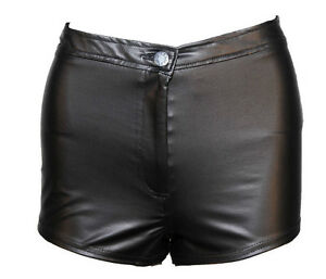 WOMENS/LADIES FASHION PVC LEATHER LOOK HOT PANTS/ SHORTS 6-14