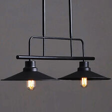 Modern Metal Ceiling Lamp Light Pendant Edison Bulb Chandeliers 2 Fixtures Black