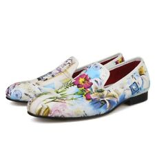 Chic Mens Real Leather Floral Slip On Shoes Casual Wedding Party Dress Loafer SZ