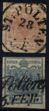 1850 2Marke: 3kr, und 9kr, Verschiedene ST.PÖLTEN Stempeln.