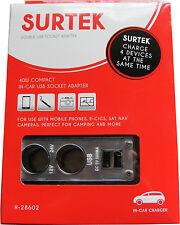 IN CAR USB CHARGER 12v CIGARETTE LIGHTER ADAPTER SPLITTER - 2 x 12v & 2 x USB