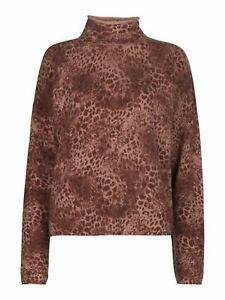WHISTLES Ladies Big Cat Roll Neck Wool Knit Jumper Pink Multi S BNWT RRP129