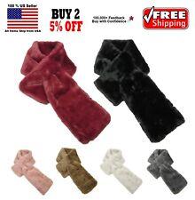 Women Soft Faux Fur Pull Through Winter Warm Fluffy Furry Scarf Collar Wrap