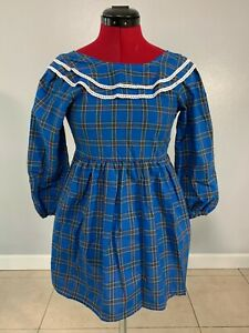 Girls Size 9 Blue Plaid Dress Long Sleeve Ruffled Lace Trimmed Scoop Neck