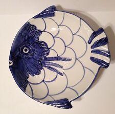 "Blue Decorative Fish Embossed Pottery 9"" Ceramic Decorative Serving Bowl Summer"