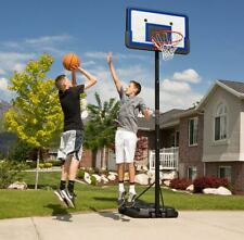 "PORTABLE OUTDOOR BASKETBALL GOAL HOOP SYSTEM W/ 44"" BACKBOARD ADJUSTS 7.5 -10 FT"