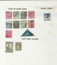 Cape of Good Hope Stamps on Old Album Page including RARE 4 Pence Triangle