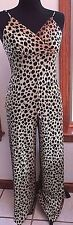70s Bell Bottom Women's Small Vintage Jumpsuit Leopard Print Polyester Knit
