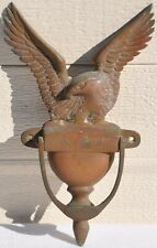 Vintage Solid Cast Brass Copper American Bald Eagle Bird Ring Door Knocker Old
