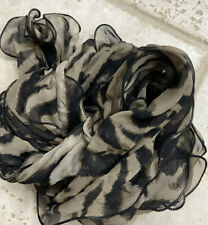 GORGEOUS RUFFLED ANIMAL PRINT Ladies Chiffon Scarf