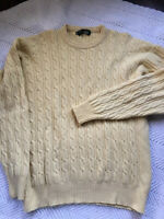 Greenwich Mens Lambs wool Sweater Chunky Pullover Size XLarge Yellow