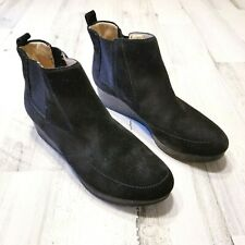 Dr Scholls Scarlet Womens Sz 8 M Black Suede Slip On Wedge Ankle Boots Booties