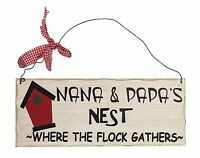 Grandparent Gift Decorative Wall Wooden Plaque Sign Picture Nana & Papa's Nest