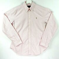 Ralph Lauren Women's Size *Large Pink Striped Collared Long Sleeve Top