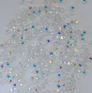 100pc Swarovski Crystal Clear AB 3mm Bicone 5328 Beads; Bulk Lot Aurora Borealis