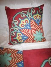 Kissenhüllen 45 x 45 Rot-Türkis-Gelb-Blau-Beige 3er Set Bunt  Blume