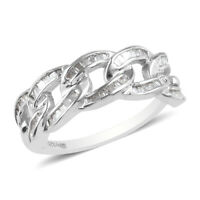 Platinum Over 925 Sterling Silver White Diamond Band Ring Jewelry Size 6 Ct 0.33