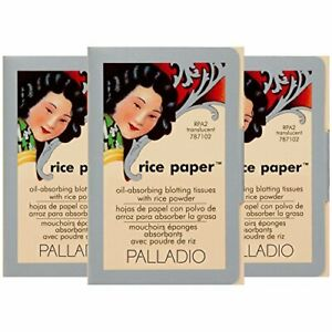 Palladio Rice Paper Tissues Translucent 40 Sheets Pack of 3 Face Blotting S