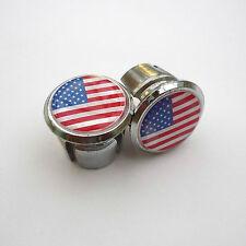 Vintage Style USA Flag Racing Bar Plugs, Caps