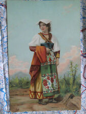 Frau Gewand Wandern Feld Gemälde Kunstwerk Postkarte Ansichtskarte 3050
