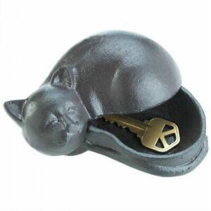 Small Cast Iron Cat Key Hider Compartment Box Outdoor Garden Statue Dog Sitter