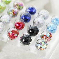 Vogue Lady Earrings Pearl Shape Glass Ball Ear Stud Earrings Wedding One Pair