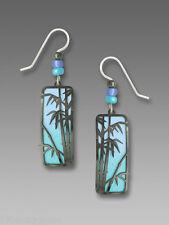 Adajio Hematite BAMBOO Tropical BLUE Column Earrings STERLING Silver Dangle  Box